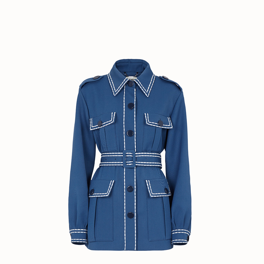 FENDI JACKET - Safari jacket in blue gabardine - view 1 detail