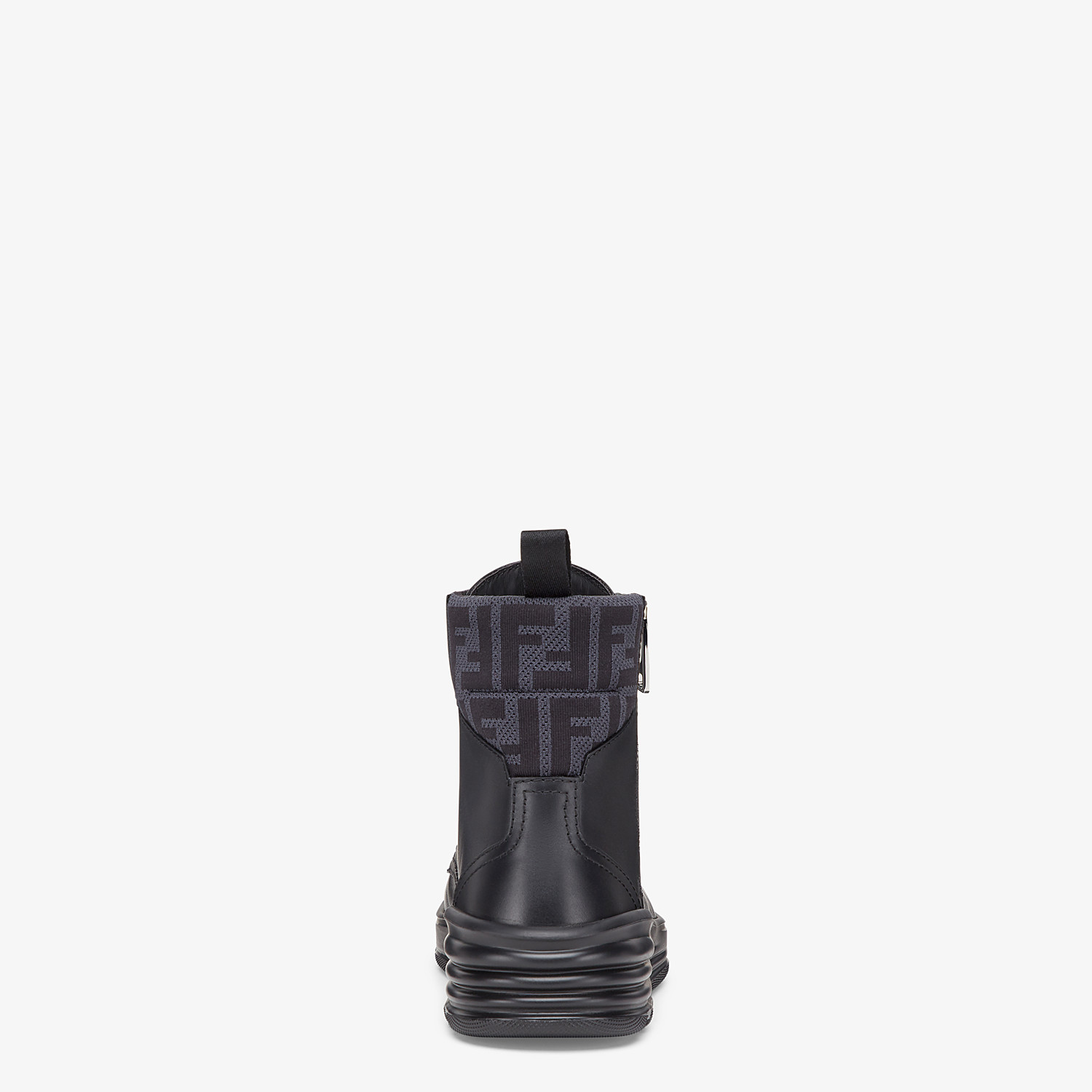 FENDI ANKLE BOOT - Black leather biker boots - view 3 detail