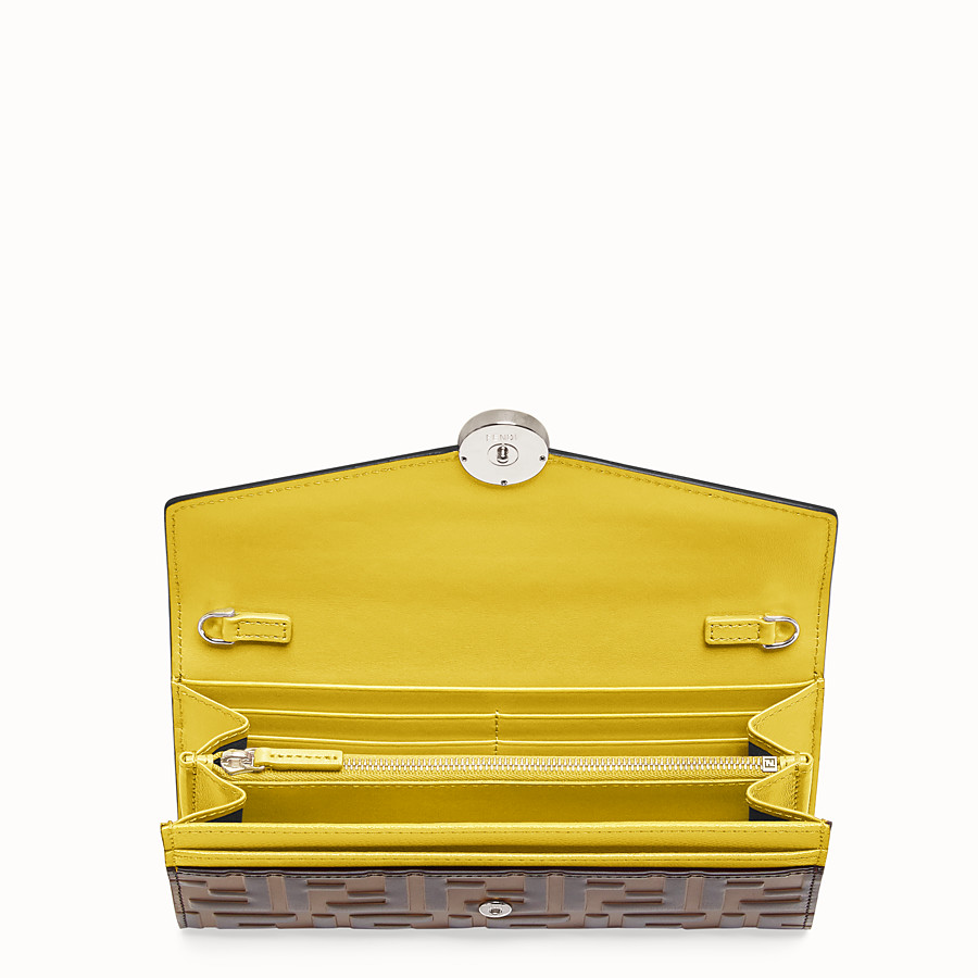 FENDI CONTINENTAL WITH CHAIN - Yellow leather wallet - view 4 detail