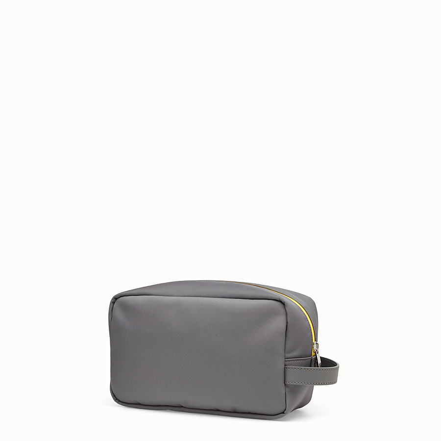 FENDI TOILETRY CASE - Grey fabric and leather pouch - view 2 detail