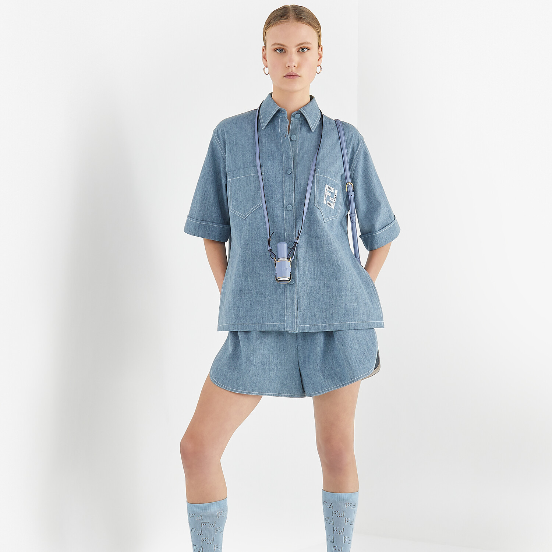 FENDI SHORTS - Light blue chambray shorts - view 4 detail