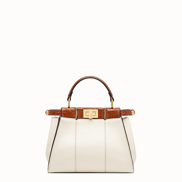 FENDI PEEKABOO ICONIC MINI - White leather bag with exotic details - view 1 small thumbnail