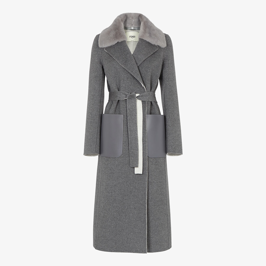 FENDI COAT - Gray double-sided cashmere coat - view 1 detail