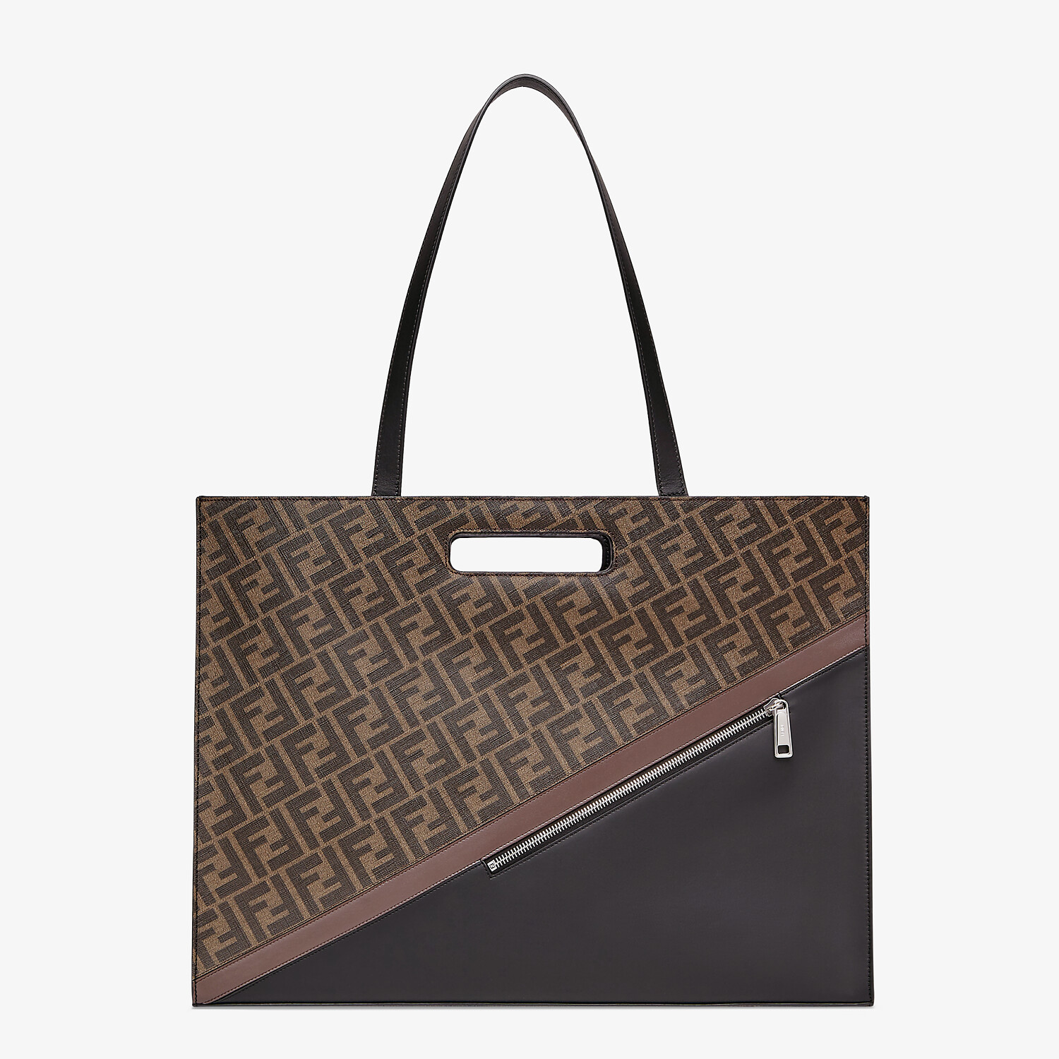 FENDI SHOPPING BAG - Brown fabric shopping bag - view 2 detail