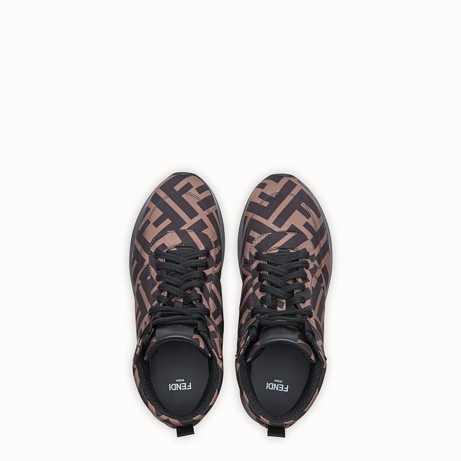 FENDI SNEAKER - High top in nylon marrone - vista 4 dettaglio
