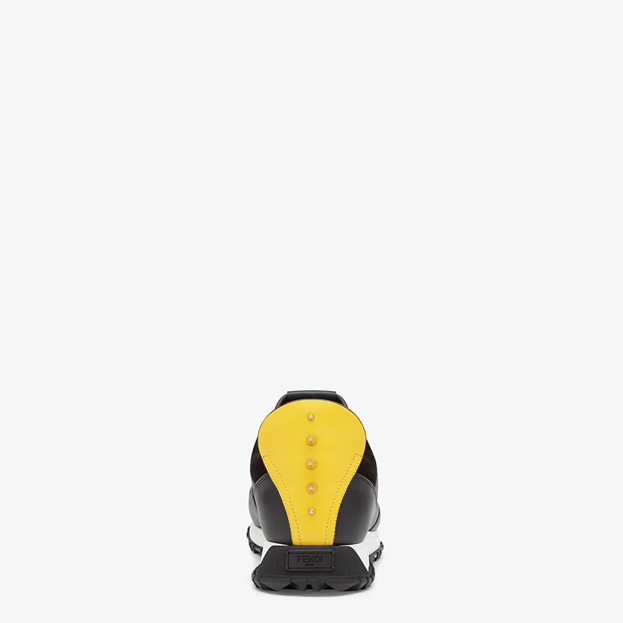FENDI BAG BUGS SNEAKERS - Black and yellow leather lace-up - view 3 detail