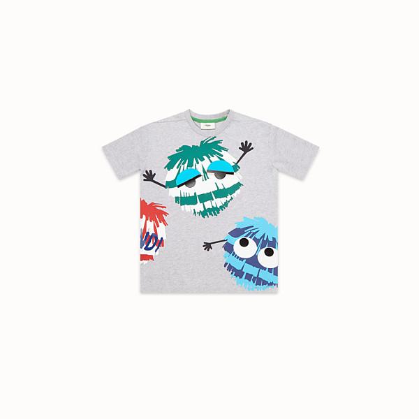 FENDI T-SHIRT - Grey melange jersey T-Shirt - view 1 small thumbnail