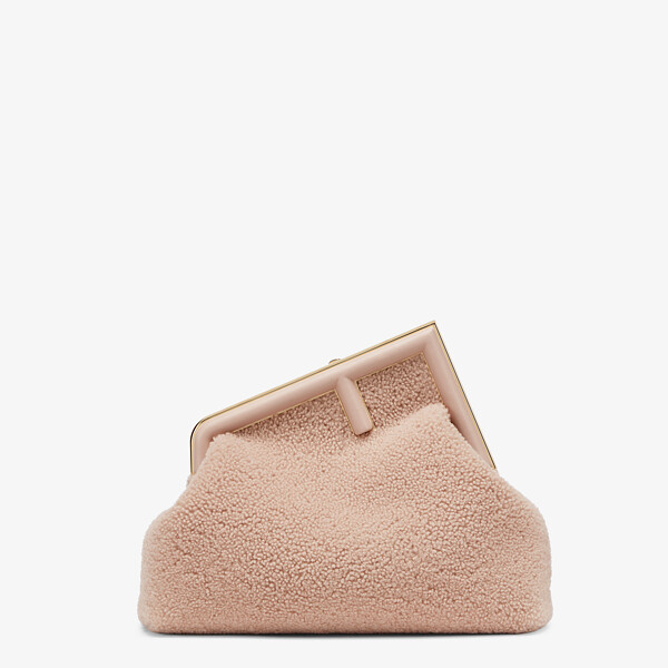 Pink sheepskin bag