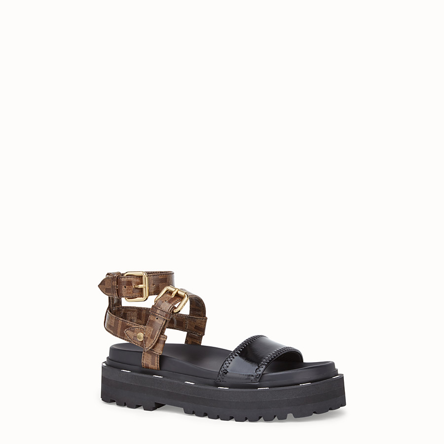 FENDI SANDALS - Sandals in glossy black neoprene - view 2 detail