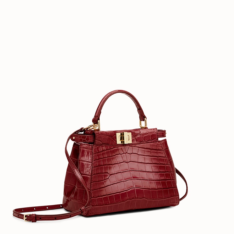 FENDI PEEKABOO MINI - Red crocodile leather handbag. - view 2 detail