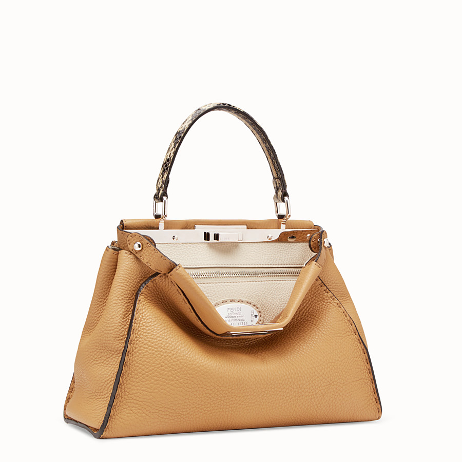 FENDI PEEKABOO REGULAR - Brown leather bag with exotic details - view 2 detail