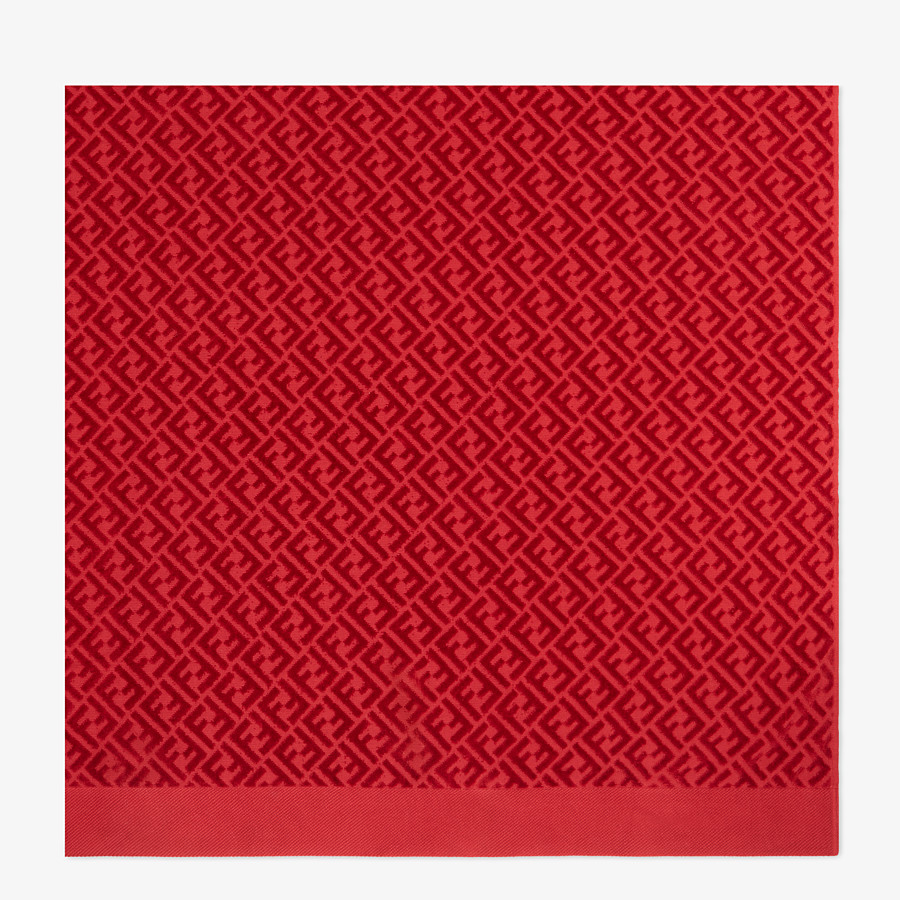 FENDI BEACH TOWEL - Red cotton beach towel - view 3 detail