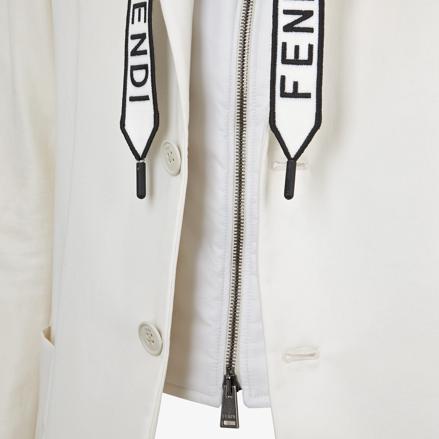 FENDI JACKET - White cotton blazer - view 3 detail