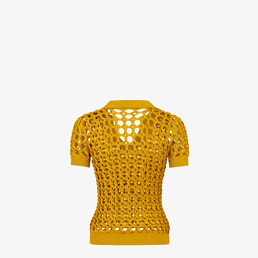 FENDI SWEATER - Yellow knit polo shirt - view 2 detail