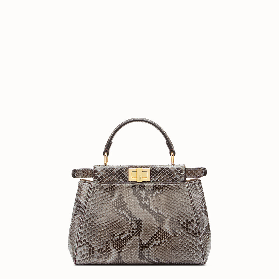 FENDI PEEKABOO ICONIC MINI - Tasche aus Pythonleder in Grau - view 3 detail