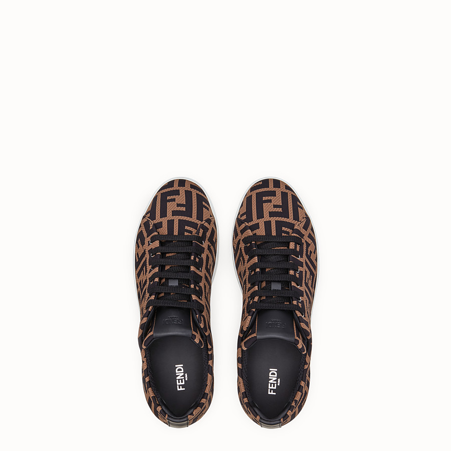 FENDI SNEAKERS - Brown tech fabric low-tops - view 4 detail