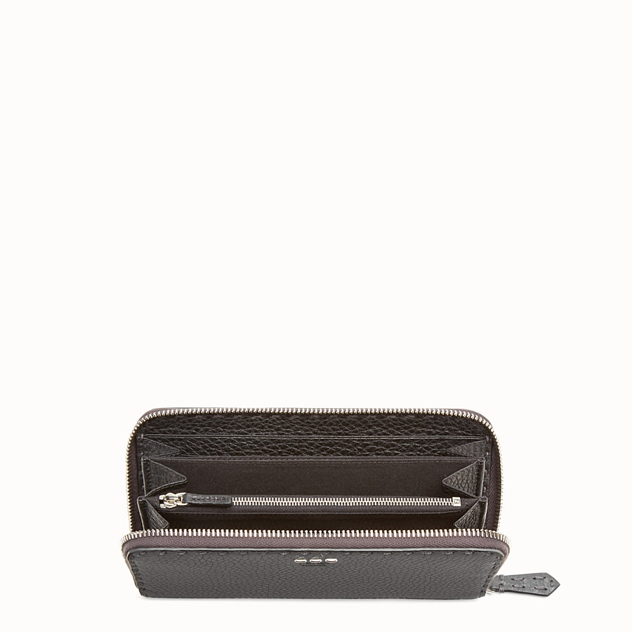 FENDI ZIP-AROUND - Slender wallet in grey Roman leather - view 3 detail