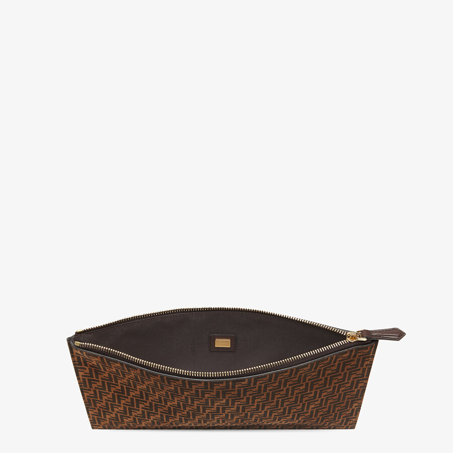 FENDI FLAT POUCH MEDIUM - Brown leather pouch - view 3 detail