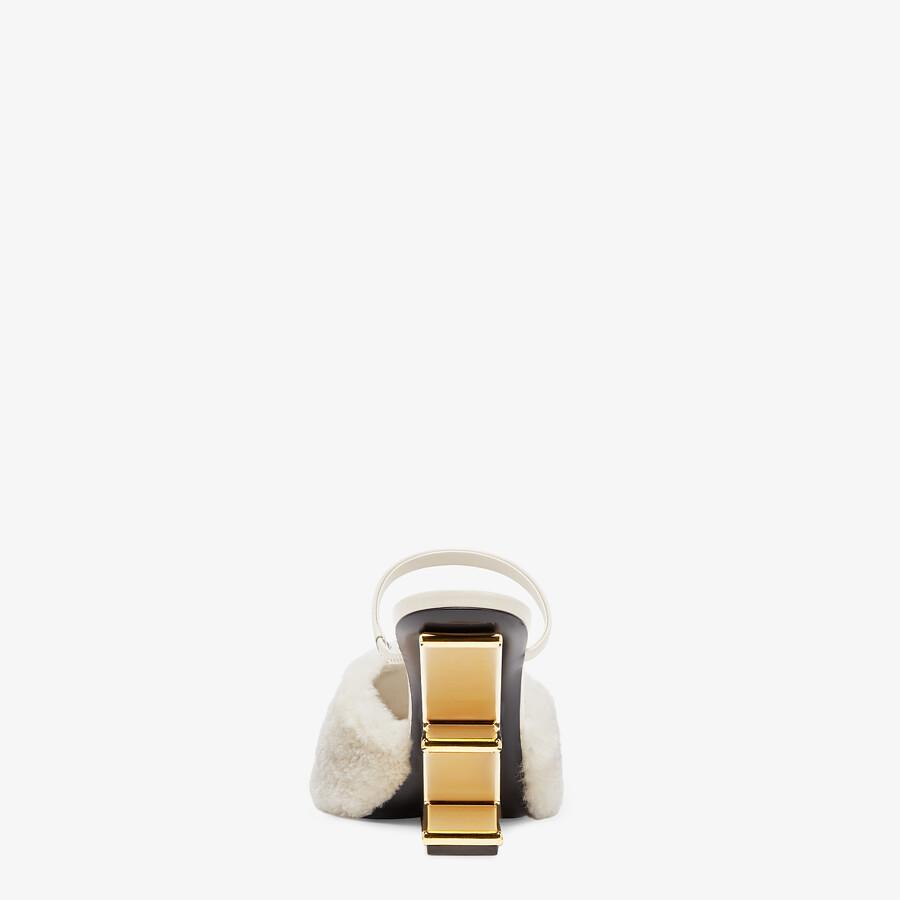 FENDI FENDI FIRST - White sheepskin high-heeled sandals - view 3 detail