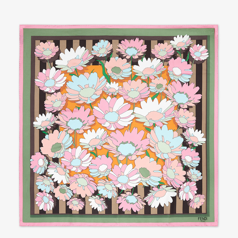 FENDI FLOWERS FOULARD - Multicolor silk foulard - view 1 detail