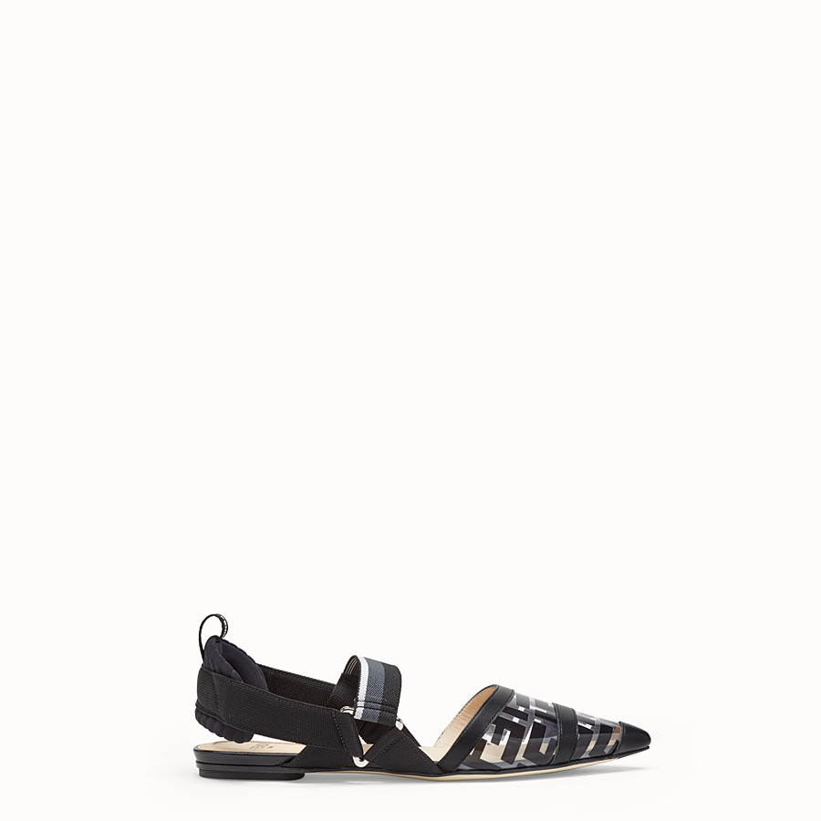 FENDI SANDALS - Flats in PU and black leather - view 1 detail