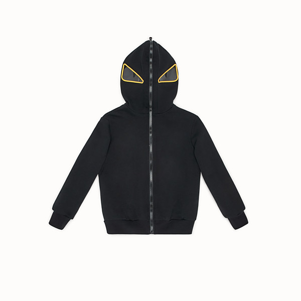 "FENDI ""EYES"" HOODIE - Black tech fabric sweatshirt - view 1 small thumbnail"