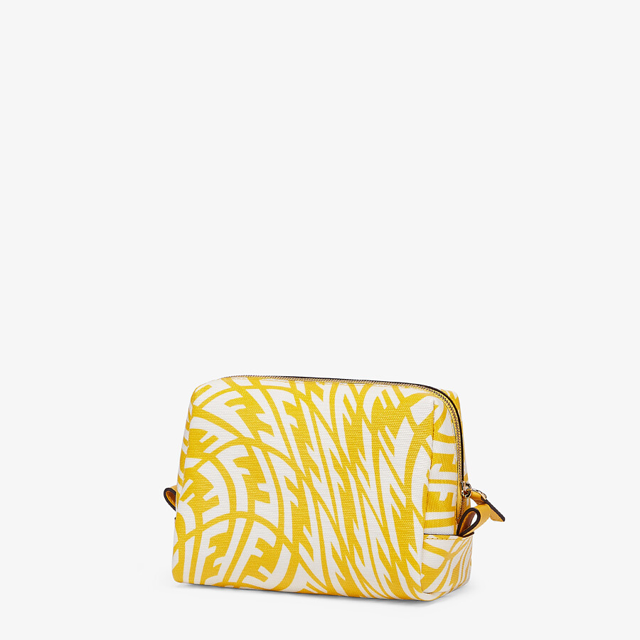 FENDI BEAUTY POUCH SMALL - Yellow canvas toiletry case - view 2 detail
