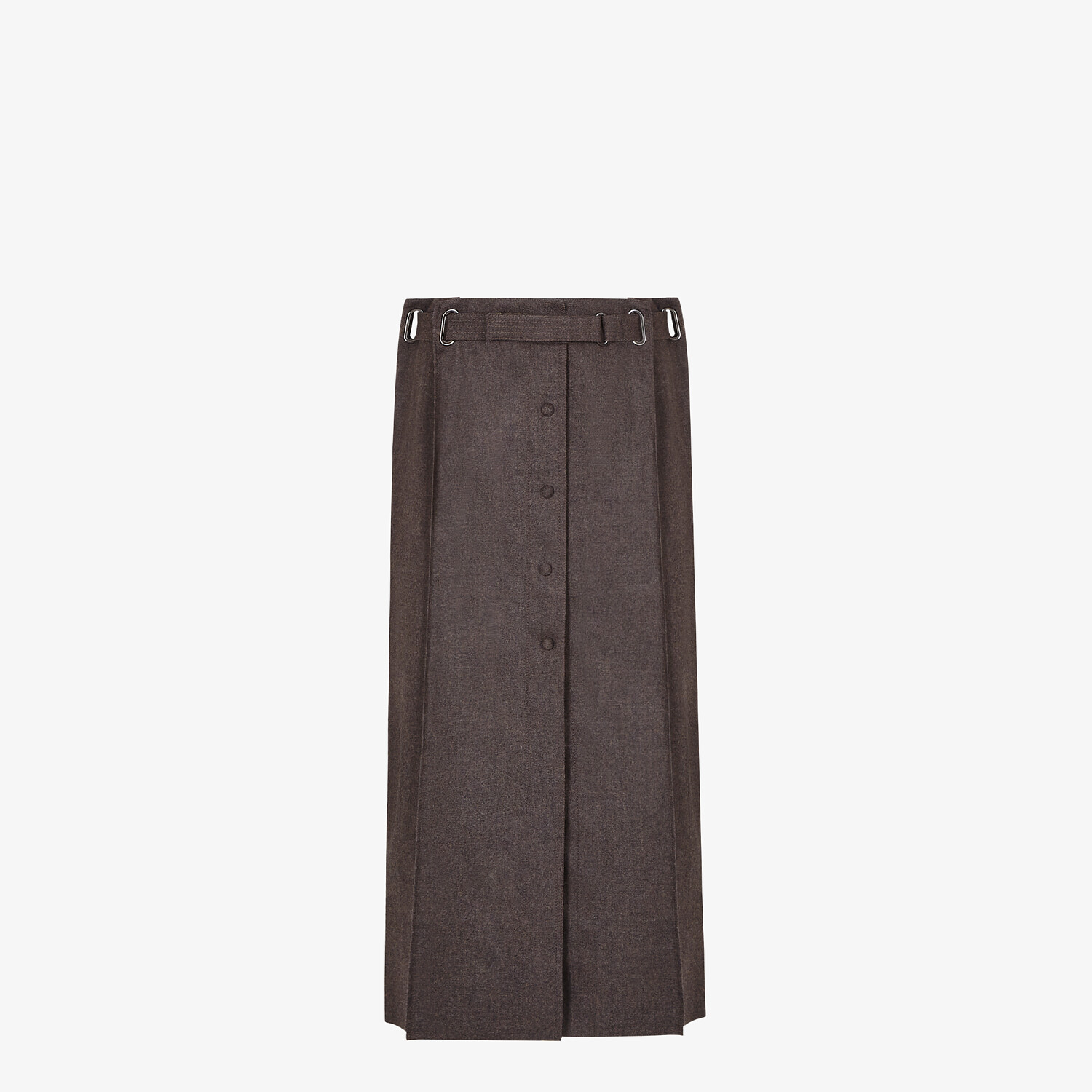 FENDI SKIRT - Brown cashmere and flannel skirt - view 1 detail