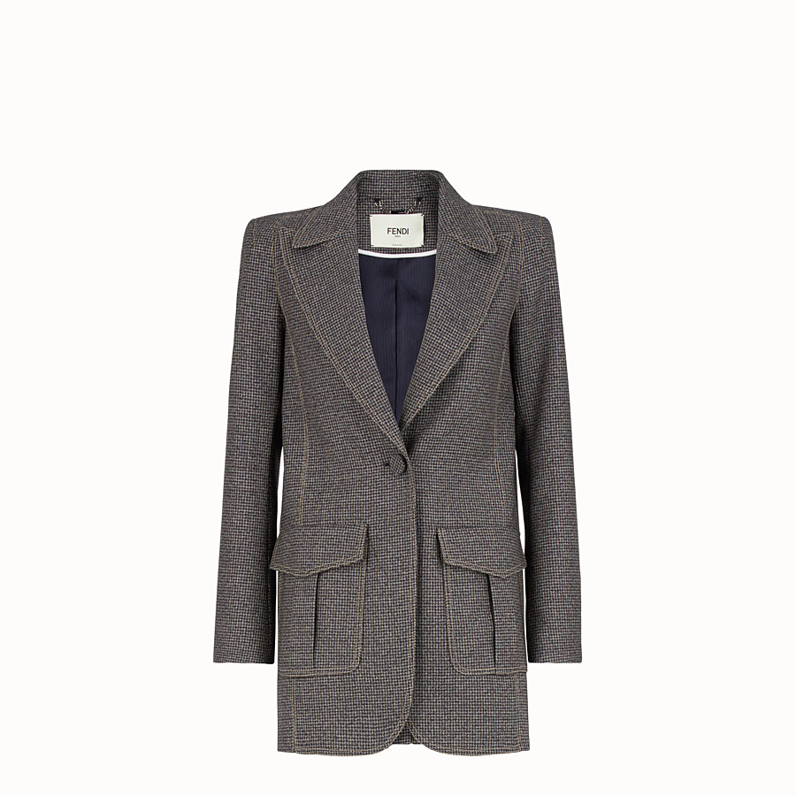 FENDI JACKET - Micro-check wool blazer - view 1 detail
