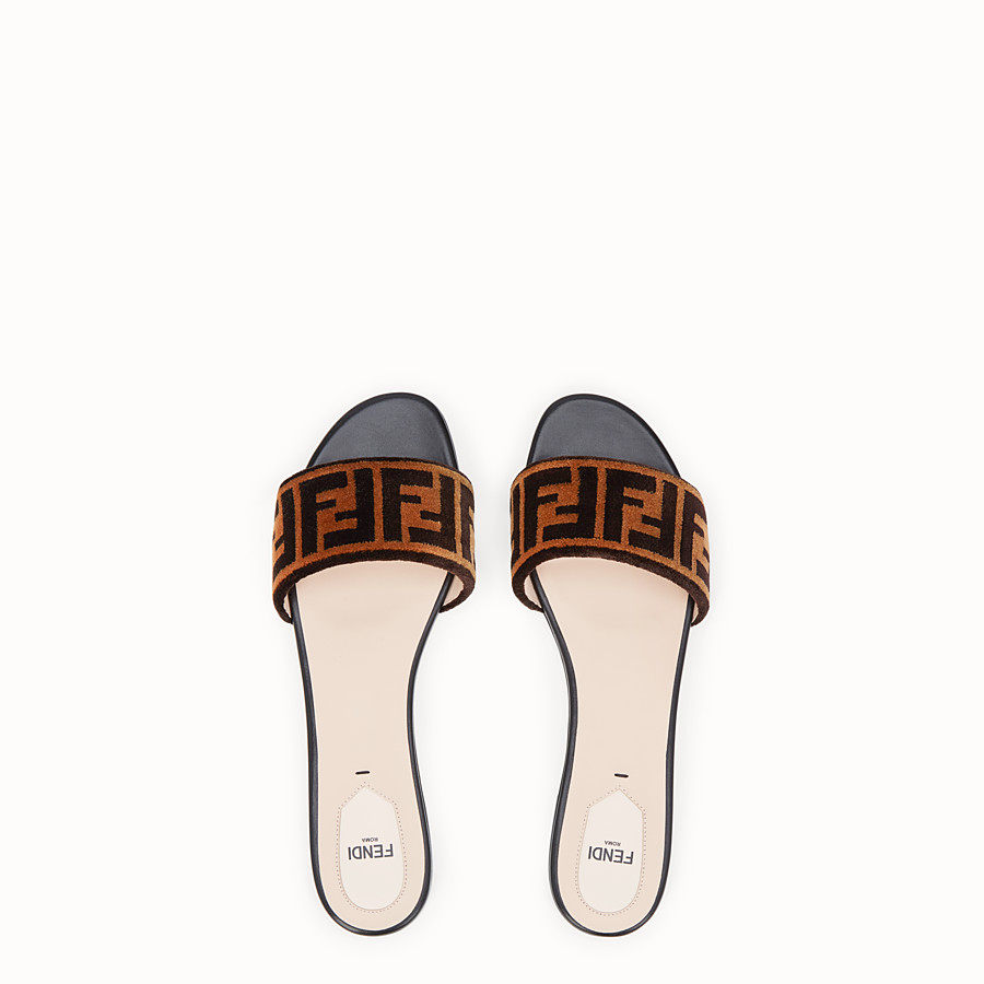 FENDI FLAT SANDALS - Multicolour leather and fabric slides - view 4 detail