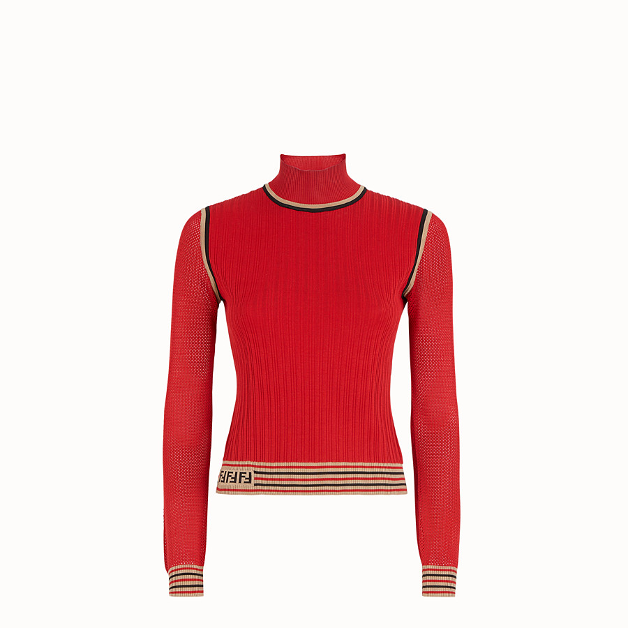 FENDI JUMPER - Red silk jumper - view 1 detail