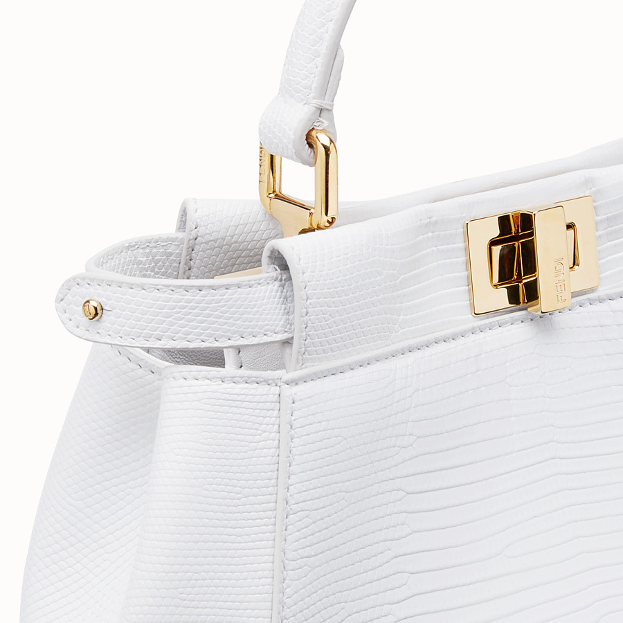 FENDI PEEKABOO ICONIC MINI - White lizard skin bag - view 6 detail