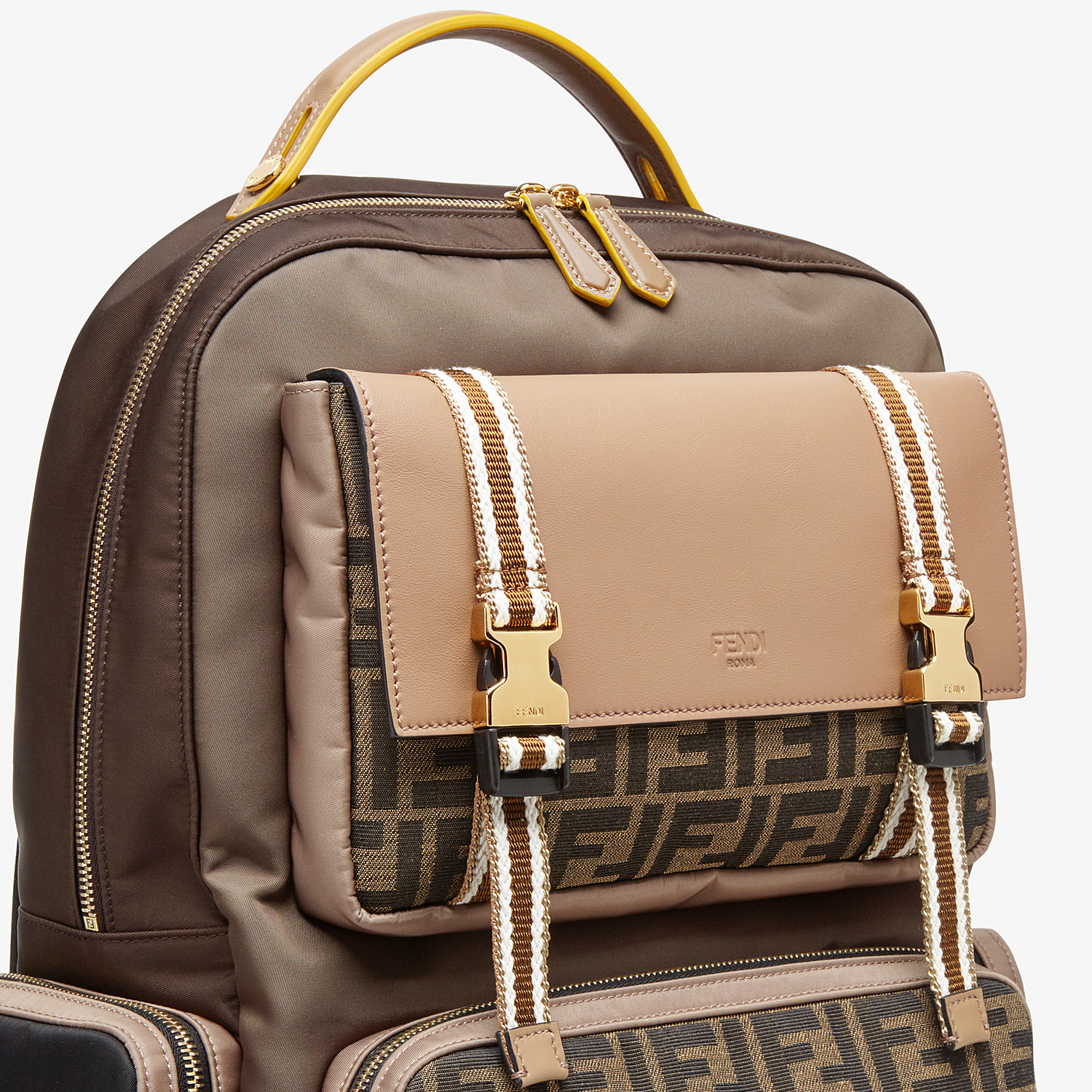 FENDI BACKPACK - Brown nylon backpack - view 4 detail
