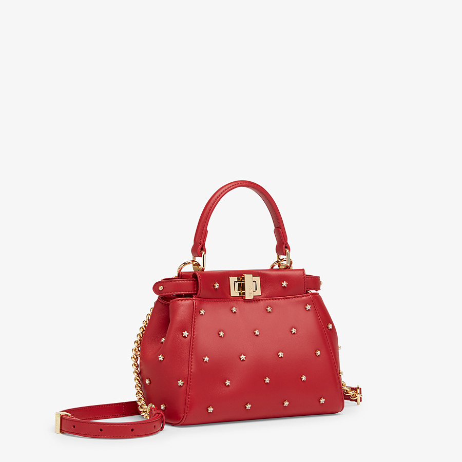 FENDI PEEKABOO ICONIC XS - Mini-Tasche aus Leder in Rot - view 2 detail