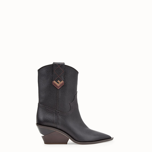 FENDI BOOTS - Black leather ankle boots - view 1 small thumbnail