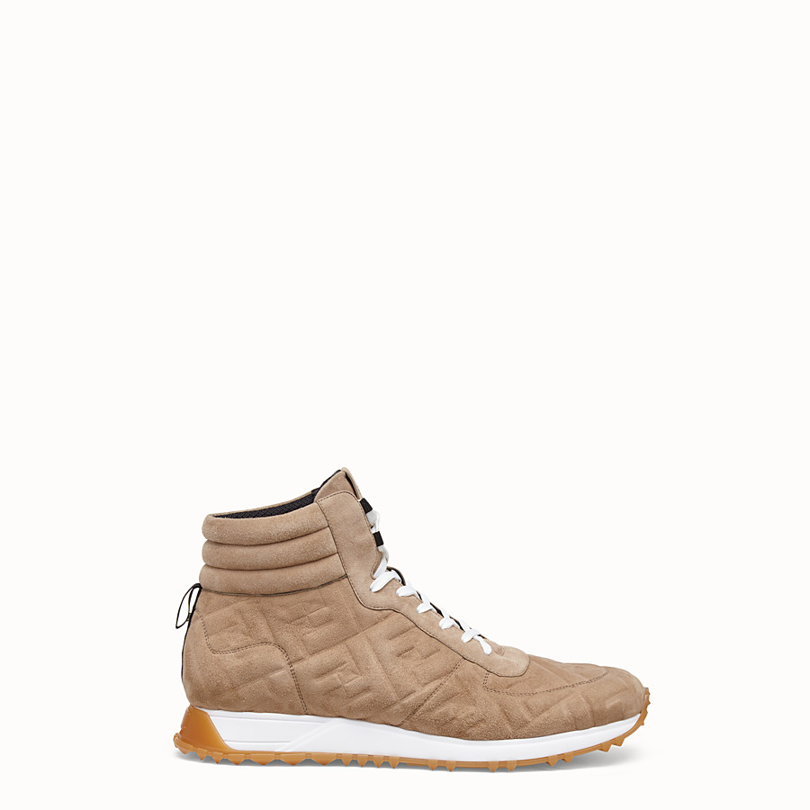 FENDI SNEAKERS - Beige suede high-tops - view 1 detail