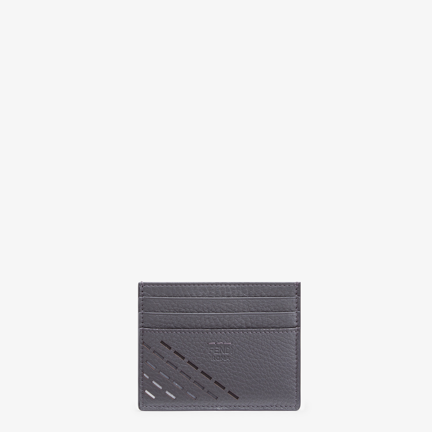 FENDI CARD HOLDER - Gray leather card holder - view 1 detail