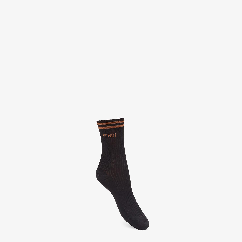 FENDI SOCKS - Black knit socks - view 1 detail