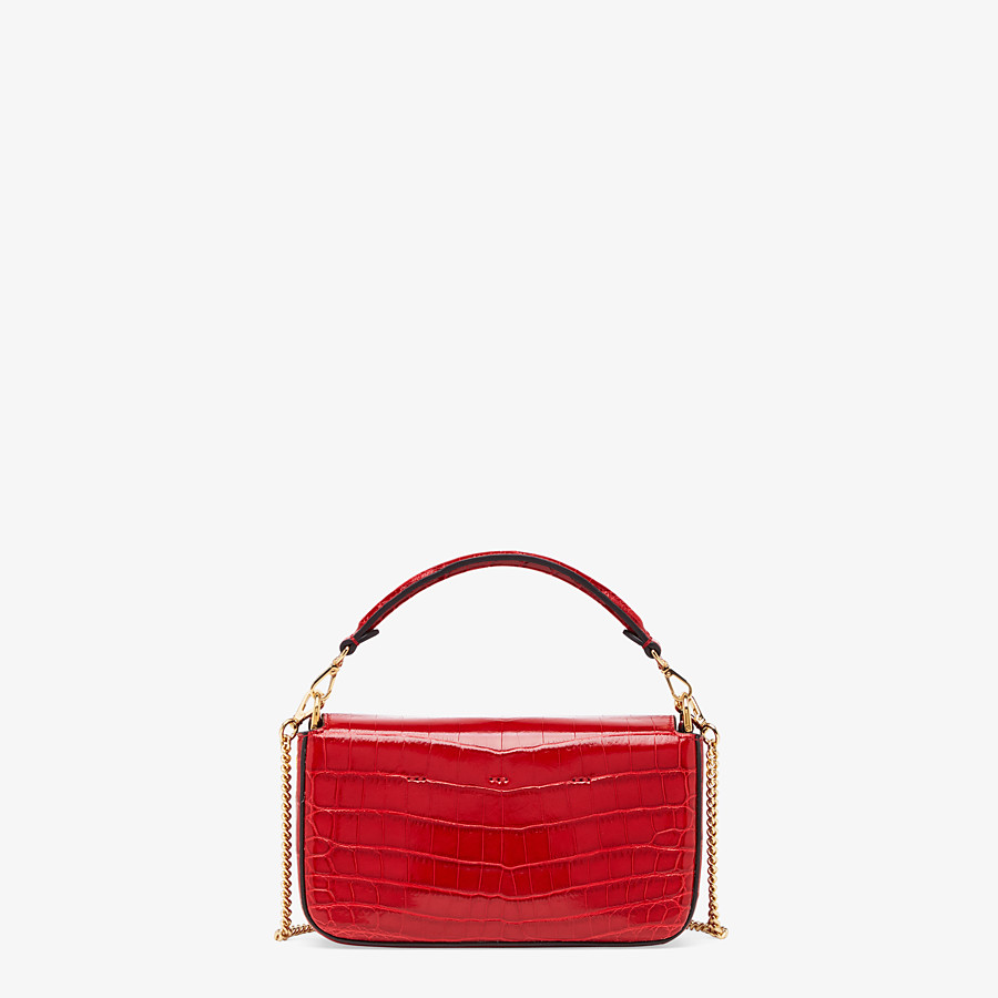 FENDI BAGUETTE - Red crocodile leather bag - view 3 detail