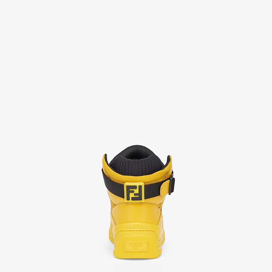 FENDI SNEAKERS - Yellow leather high-tops - view 3 detail