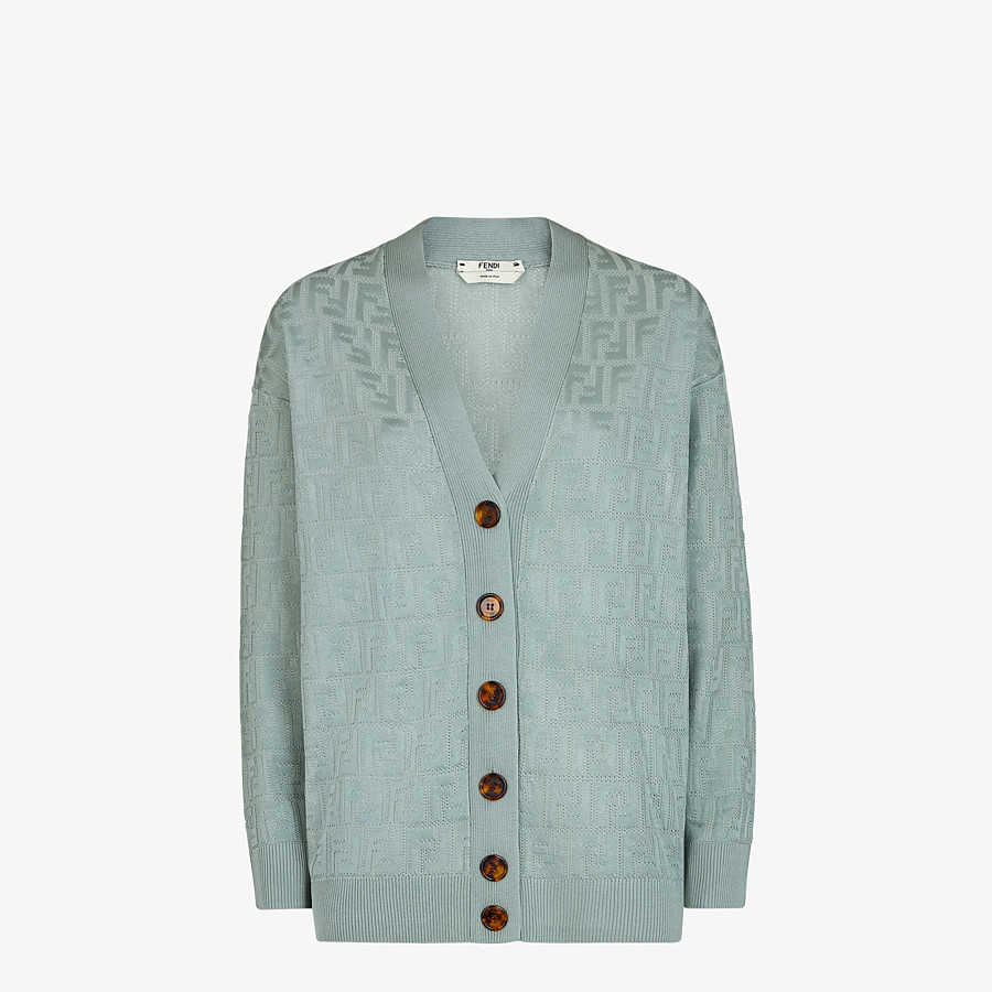 FENDI CARDIGAN - Light blue viscose and cotton cardigan - view 1 detail