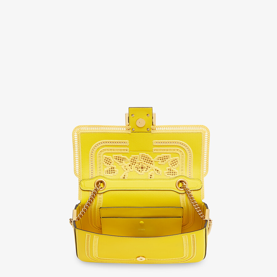 FENDI BAGUETTE CHAIN - Embroidered yellow leather bag - view 4 detail