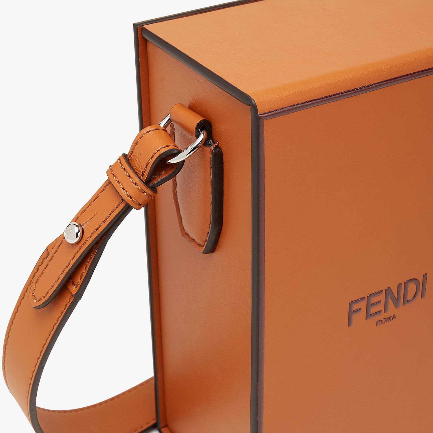 FENDI VERTICAL BOX - Brown leather bag - view 5 detail