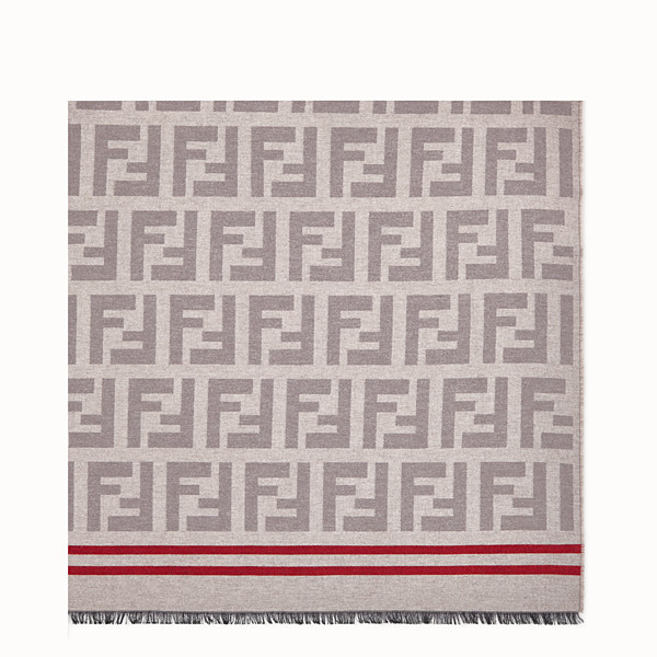 FENDI PLAID THROW - Beige wool and silk plaid throw - view 1 small thumbnail