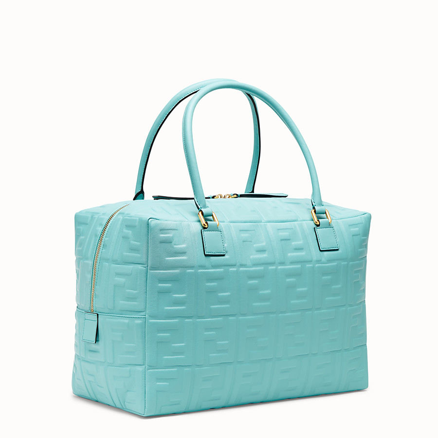 FENDI BOSTON LARGE - Pale blue leather Boston bag - view 3 detail