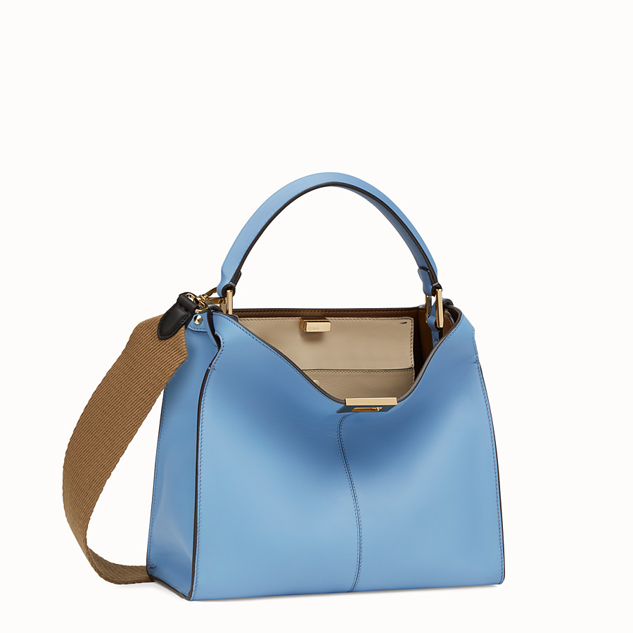 FENDI PEEKABOO X-LITE REGULAR - Pale blue leather bag - view 3 detail
