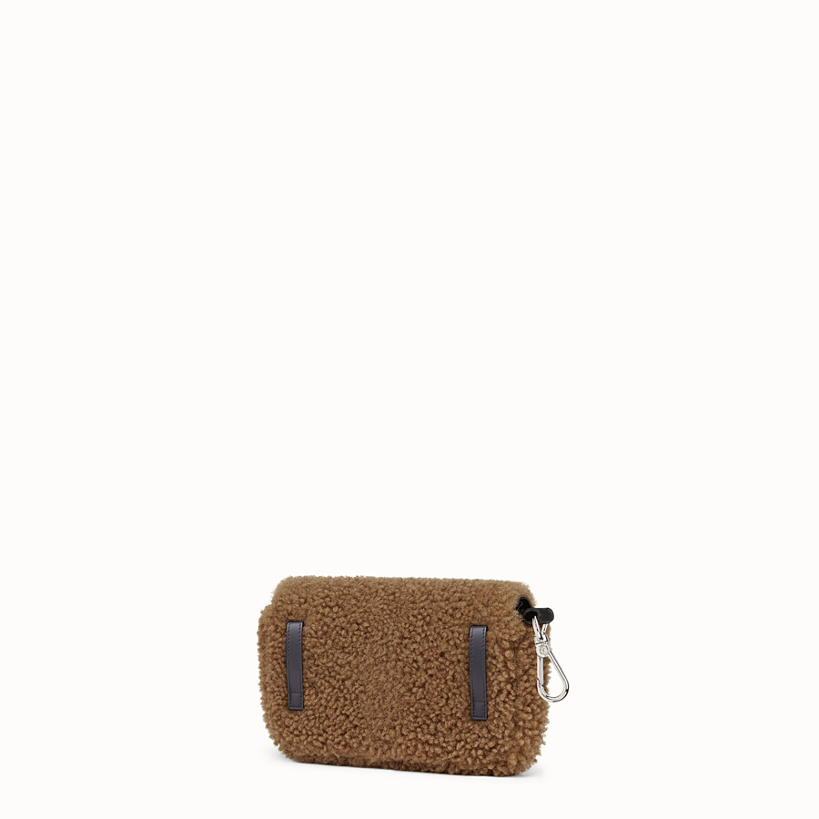 FENDI MICRO BAGUETTE - Micro-bag in brown sheepskin - view 2 detail