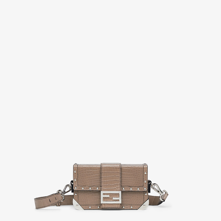 FENDI BAGUETTE TRUNK MINI - Beige alligator leather bag - view 1 detail
