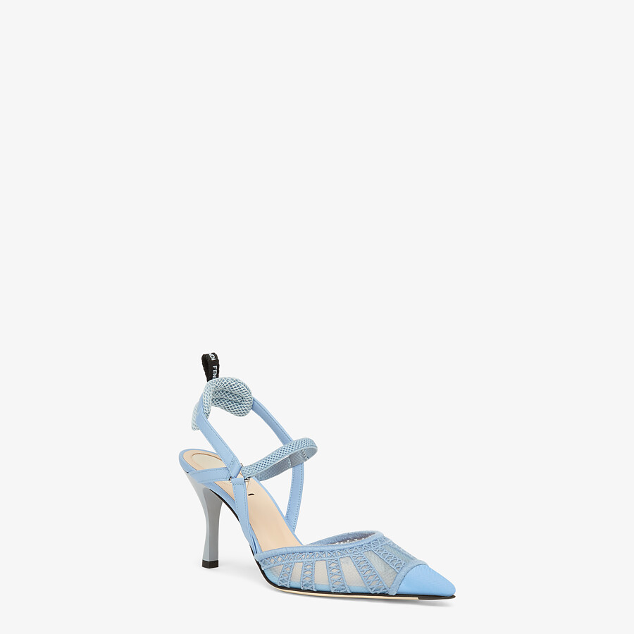 FENDI COLIBRI LITE SLINGBACKS - Light blue micro-mesh slingbacks - view 2 detail