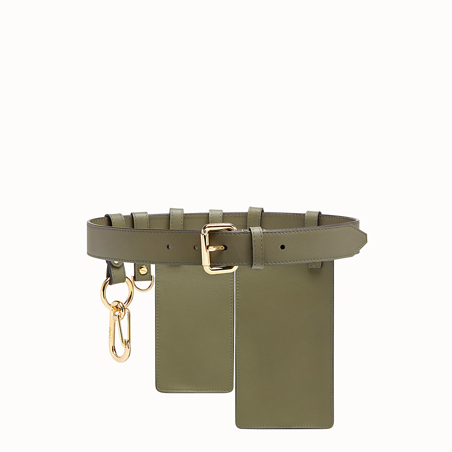 FENDI BELT - Green leather belt - view 2 detail